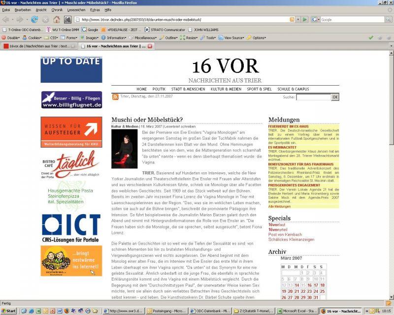 Müschi oder Möbelstück - Zeitungsbericht bei 16vor